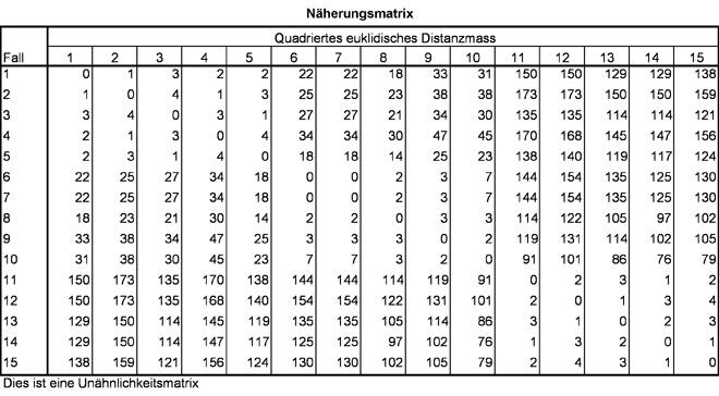 Abbildung 4: Distanzmatrix der Beispieldaten