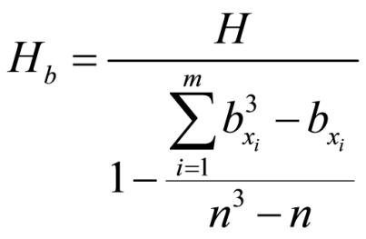 Abbildung 4: Berechnung der Teststatistik Hb (mit Bindungen)