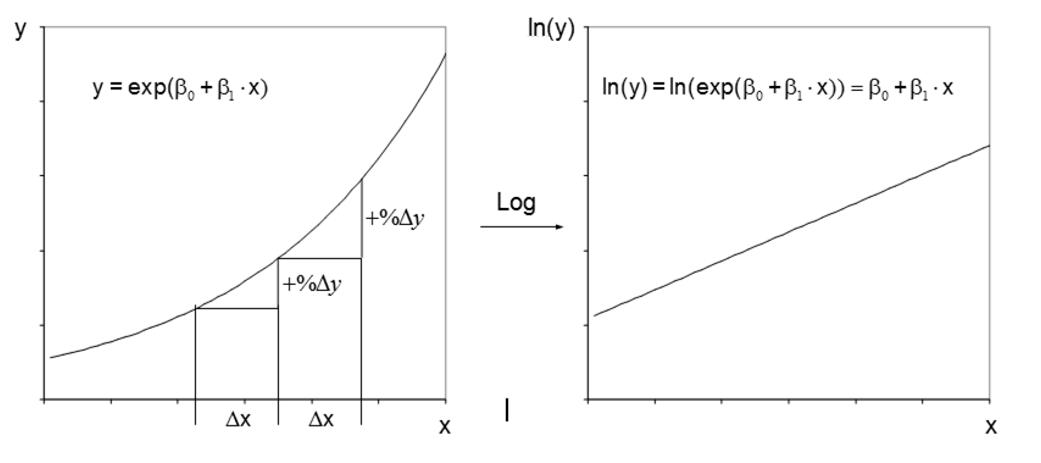 Abbildung 6: Linearisierung durch Transformation: vorher (links) und nachher (rechts).